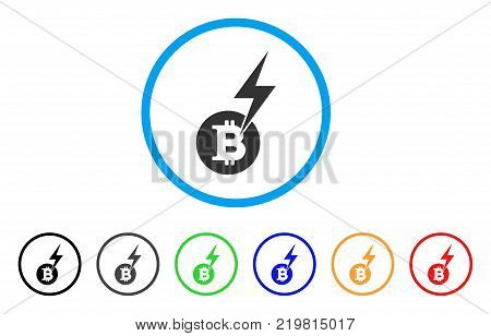 Bitcoin Lightning Strike rounded icon. Style is a flat gray symbol inside light blue circle with bonus colored versions. Bitcoin Lightning Strike vector designed for web and software interfaces.