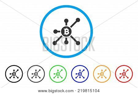 Bitcoin Node rounded icon. Style is a flat gray symbol inside light blue circle with bonus colored variants. Bitcoin Node vector designed for web and software interfaces.