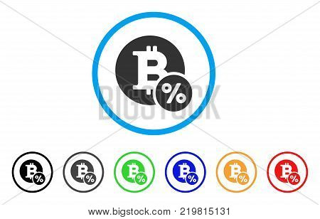 Bitcoin Percent rounded icon. Style is a flat grey symbol inside light blue circle with bonus colored variants. Bitcoin Percent vector designed for web and software interfaces.