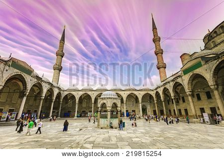 ISTANBUL - JUN 18: View of the famous Blue Mosque Sultan Ahmet Cami in June 18, 2015 in Istanbul, Turkey.
