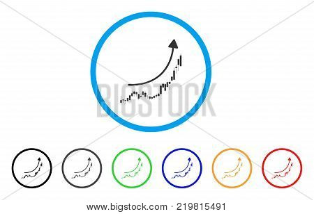 Candlestick Chart Growth Trend rounded icon. Style is a flat gray symbol inside light blue circle with bonus colored versions.