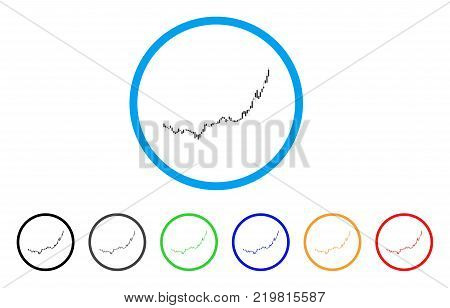 Candlestick Graph Growth Acceleration rounded icon. Style is a flat gray symbol inside light blue circle with additional color versions.