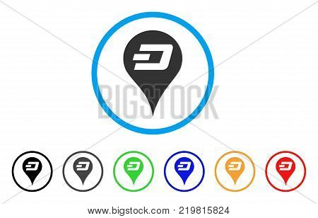 Dashcoin Map Pointer rounded icon. Style is a flat grey symbol inside light blue circle with additional colored variants. Dashcoin Map Pointer vector designed for web and software interfaces.