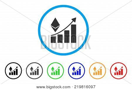 Ethereum Growth Trend rounded icon. Style is a flat grey symbol inside light blue circle with bonus color variants. Ethereum Growth Trend vector designed for web and software interfaces.