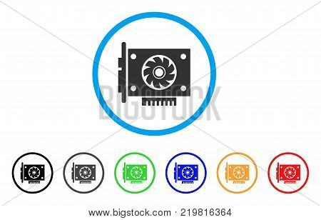 Gpu Card rounded icon. Style is a flat grey symbol inside light blue circle with additional colored versions. Gpu Card vector designed for web and software interfaces.