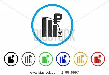 Rouble Panic Fall Chart rounded icon. Style is a flat grey symbol inside light blue circle with additional colored variants. Rouble Panic Fall Chart vector designed for web and software interfaces.
