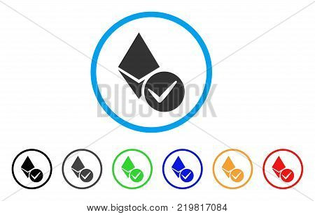 Valid Ethereum Crystal rounded icon. Style is a flat gray symbol inside light blue circle with additional color variants. Valid Ethereum Crystal vector designed for web and software interfaces. poster