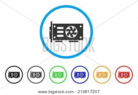 Video Graphics Gpu Card rounded icon. Style is a flat grey symbol inside light blue circle with additional colored variants. Video Graphics Gpu Card vector designed for web and software interfaces.