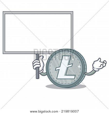 Bring board Litecoin character cartoon style vector illustartion