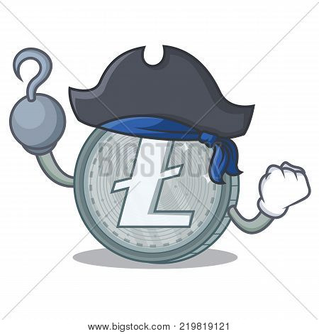 Pirate Litecoin character cartoon style vector illustartion