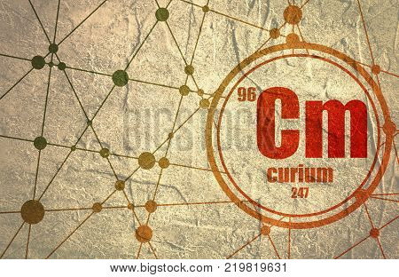 Curium chemical element. Sign with atomic number and atomic weight. Chemical element of periodic table. Molecule And Communication Background. Connected lines with dots.