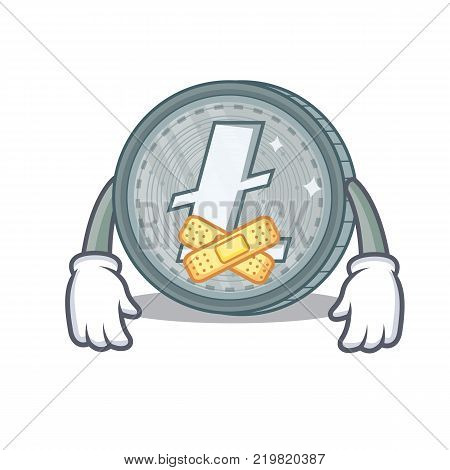 Silent Litecoin character cartoon style vector illustartion