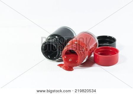 Poster color in bottle isolated on white background