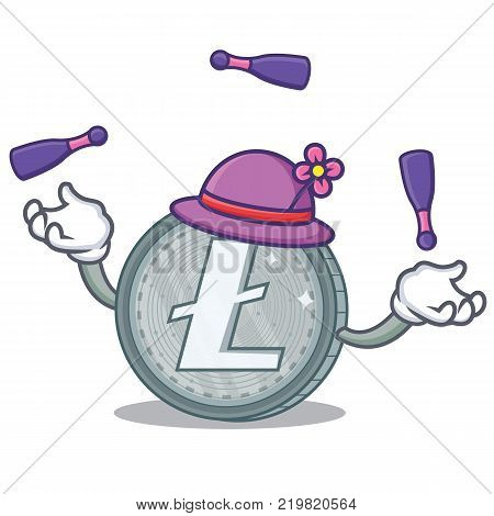 Juggling Litecoin character cartoon style vector illustartion