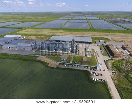 Grain terminal. Plant for the drying and storage of grain. Rice plant in the middle of fields. Top view.