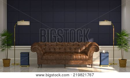 luxury modern living room leather sofa In front of blue wall white lamp and sideboard 3d rendering Vintage empty blue wall modern mid Century room interior