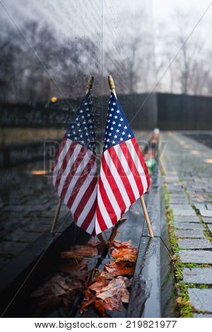 The United States Natiional flag at the Vietnam Veterans Memorial in Washington, D.C.