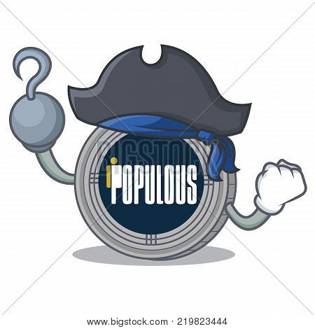 Pirate populous coin character cartoon vector illustration