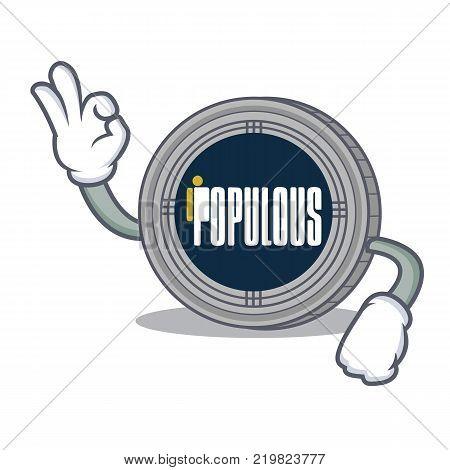 Okay populous coin character cartoon vector illustration