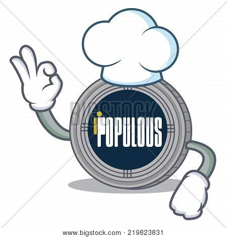 Chef populous coin character cartoon vector illustration