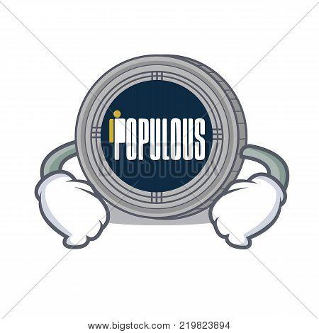 Hand on waist populous coin character cartoon vector illustration