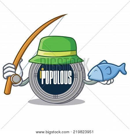 Fishing populous coin character cartoon vector illustration