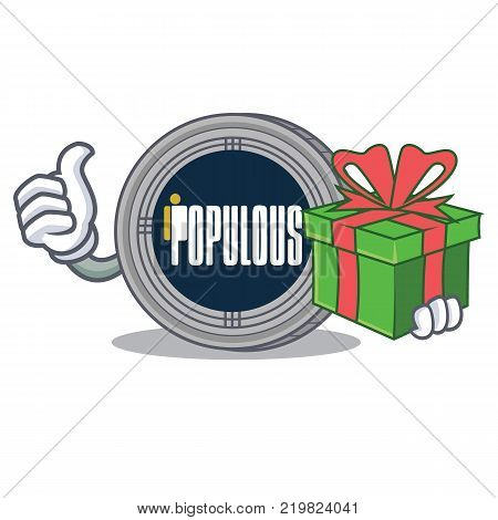 With gift populous coin character cartoon vector illustration