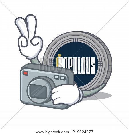 Photographer populous coin character cartoon vector illustration