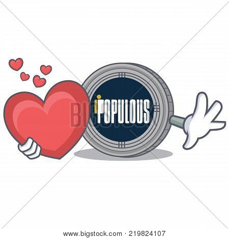 With heart populous coin character cartoon vector illustration