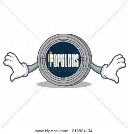 Shock populous coin character cartoon vector illustration