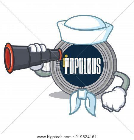 Sailor with binocular populous coin character cartoon vector illustration