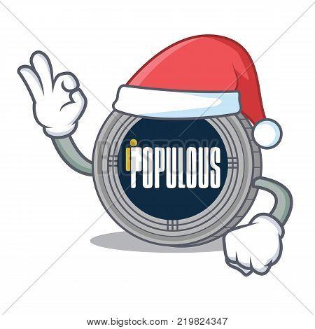 Santa populous coin character cartoon vector illustration