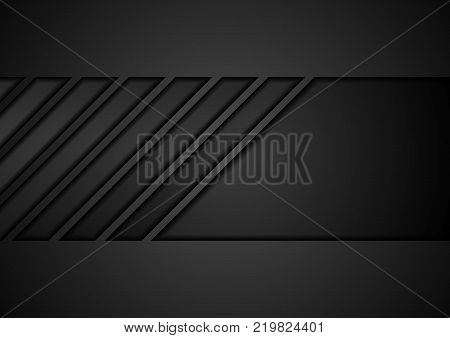 Black tech geometric concept abstract background. Vector design