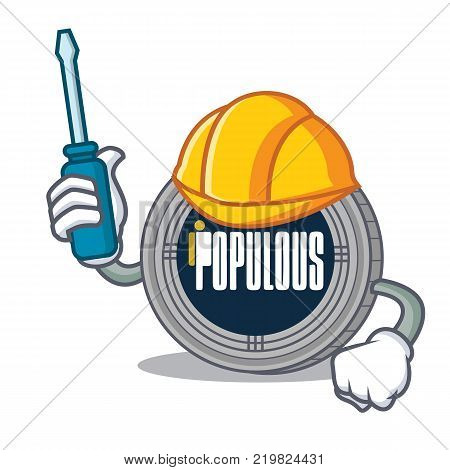 Automotive populous coin character cartoon vector illustration