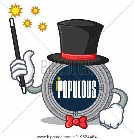 Magician populous coin character cartoon vector illustration