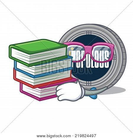 Student with book populous coin character cartoon vector illustration