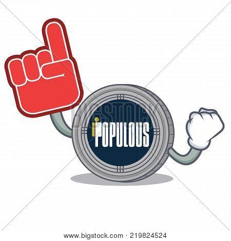 Foam finger populous coin character cartoon vector illustration