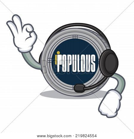 With headphone populous coin character cartoon vector illustration