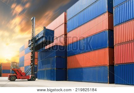 Forklift Handling Container In Yard,containers Box From Cargo Freight Ship For Import Export.