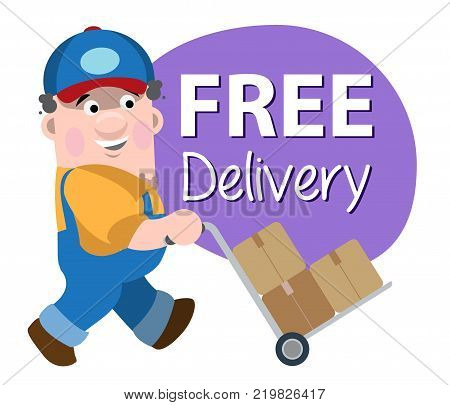 Loader makes free delivery. Vector illustration isolated on white background.