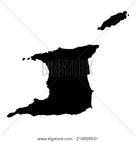 black silhouette country borders map of Trinidad and Tobago on white background of vector illustration