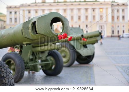 Red carnation in the muzzle brake and barrel artillery on the Palace square