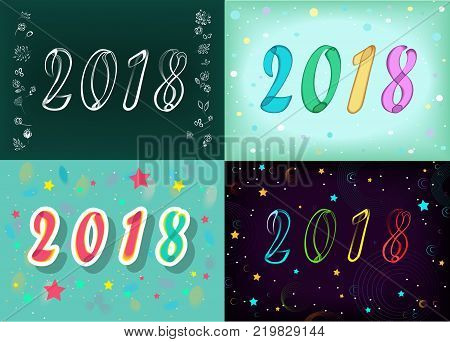 Year Specific 2018. Four retro cards with numerals by artistic font. Graceful floral decor. Vector Illustration