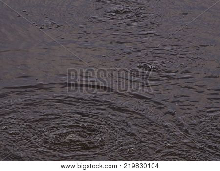 Water surface with bubbles Polluted water stream flowing.