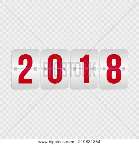 2018 Happy New Year Scoreboard isolated icon. Winter holiday vector flip symbol for celebration decoration illustration design. Red and gray gradient sign on transparent background