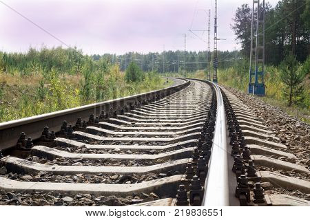 rails in landscape. Rails ina the land.