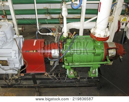 Centrifugal oil pump. Pumping water treatment module. Oil equipment