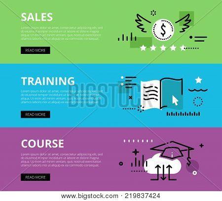 Flat line web banners of sales training on-line. Line money symbol, e-book and mortarboard for websites and marketing materials with call to action buttons, ready to use