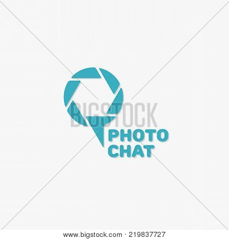 Simple photo chat logo template design. Vector illustration.