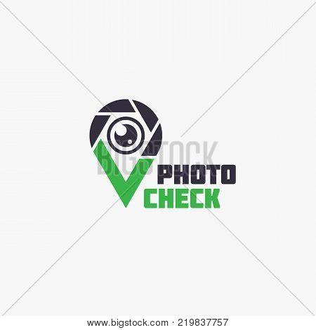 Photo check logo template design. Vector illustration.